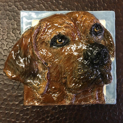 Rhodesian Ridgeback Dog 3d Ceramic Tile Handmade Pet Portrait Alexander Art
