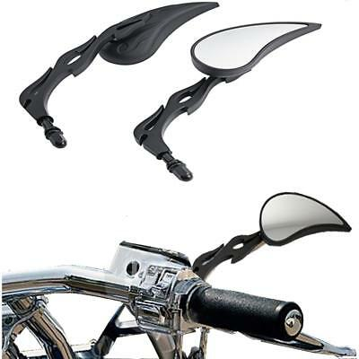 Black Motorcycle Flame Rearview Mirrors  for Cruiser Touring Harley Davidson KTM