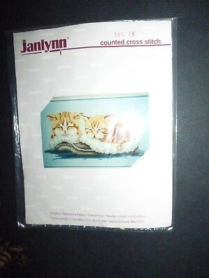 Janlynn Twin Cats  Embroidered Canvas With Threads