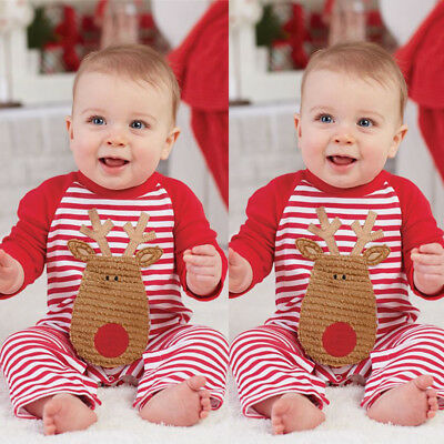 Christmas Newborn Baby Boy Girl Striped Deer Romper Jumpsuit Playsuit Clothes
