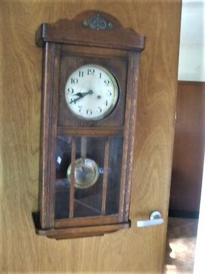 Old Antique Vintage Polish Made Pendulum Wall Clock IN Good Working Order