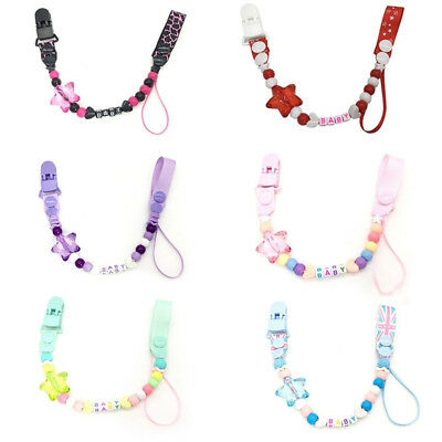 Beads Baby Teething Infant Soother Clip Pacifier Chain Chew Toy Nipple Holder