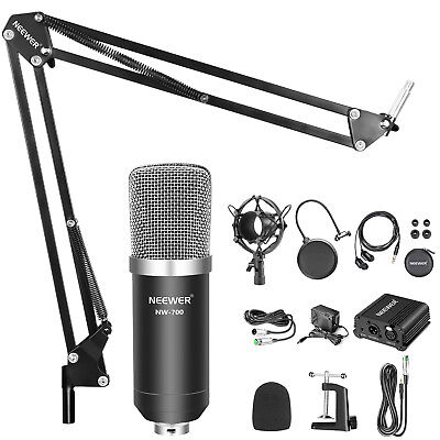 NW-700 Microphone and Stand Black 48V Phantom Power Kit with Headphone