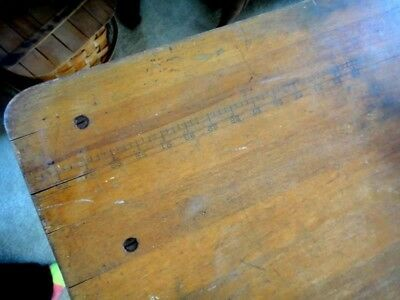 antique WALNUT? AWESOME FOLD-UP SEWING TABLE w/RULER ON TOP SURFACE