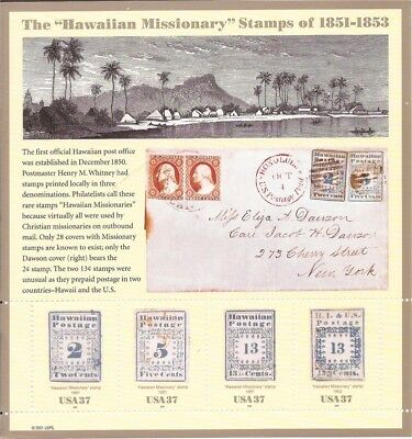 US Stamp - 2002 Hawaiian Missionary - 4 Stamp Sheet - Scott #3694