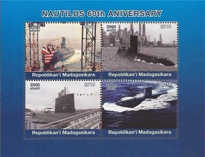 Madagascar - 2018 Nautilus Submarine - 4 Stamp Sheet - 13D-219