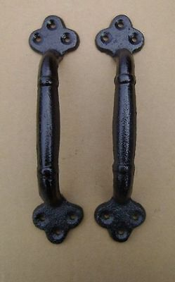 """Set of 2 Large 9"""" Cast Iron Gate Pull Barn Door Shed Pull Handle Black Finish"""
