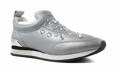 New Tory Burch Womens Laney Embellished Silver Fashion Shoes Size 7.5