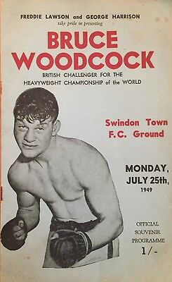 Bruce Woodcock - programme for exhibition bout at Swindon  July 1949