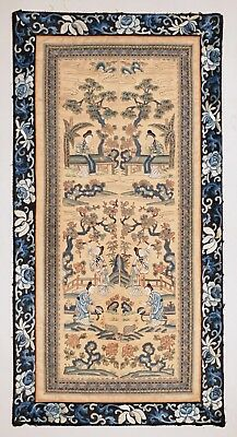 Pair Fine Quality Antique 19Thc Chinese Silk Embroidery Sleeve Panels