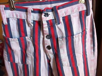 Sz 10 22x26 true Vtg 60s Girls AMERICAN STRIPE BUTTON FLY BOOTCUT HIPPY JEANS
