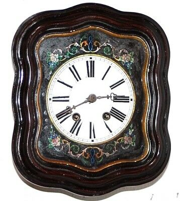 Antique 8 Day German Curvy Picture Frame Wall Clock W/ Reverse Painted Glass