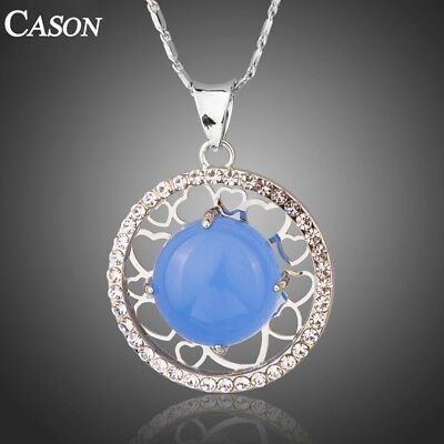Round Blue Opal Surround with Austrian Rhinestone White Gold Pendant Necklace