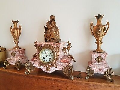 Stunning French Solid Pink and White Marble Mantle Clock Garniture Striking