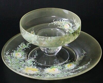 Beautiful Dorothy Thorpe DTC Hand Painted Yellow & White Floral Glass & Plate