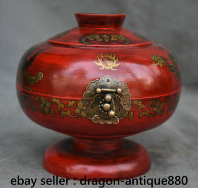 "7.6"" Old China Lacquerware Dynasty Palace Dragon Phoenix Accessories Jewelry Box"