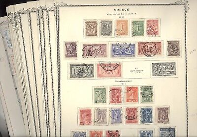 GREECE, Wonderful Stamp Collection hinged on remainder pages, MANY BETTER Sets !