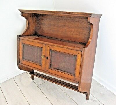 Old antique Oak with Leather Panelled 2 door wall cabinet and plate rack unit