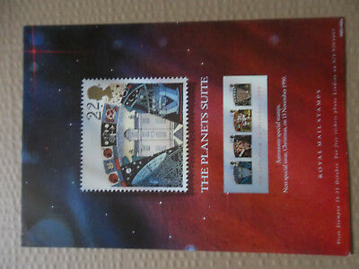 Royal Mail A4 Post Office Poster 1990 Planets Suite Astronomy