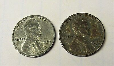 1943-D LINCOLN STEEL WHEAT PENNIES 1c US COIN  / LOT OF 2