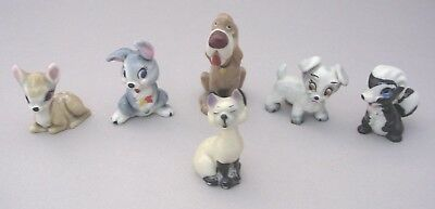 6 Wade Disney Hat Box Characters - Bambi -Thumper -Trusty - Am - Scamp & Flower