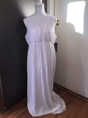 NWT Women's Flutter And Kick Maxi Maternity Dress Large White Pictures Flowy