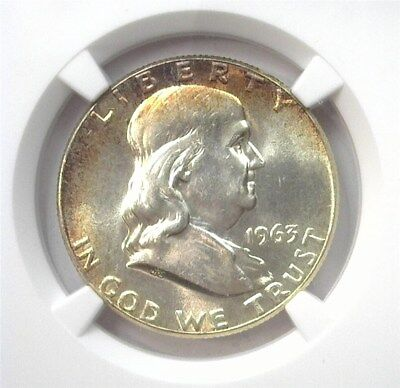 1963 Franklin Silver 50 Cents  Ngc Ms64 Looks 66!