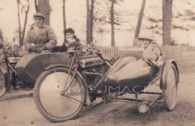 PHOTOGRAPH OF VINTAGE MOTORCYCLE AND SIDECAR  c 1920