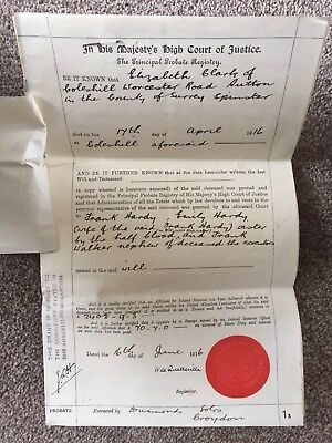 PARCHMENT PROBATE Eliz Clark SUTTON SRY 1916 WW1 BENEFICIARY RESTRICTIONS read