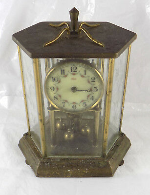 Vintage German Kundo 400 Day Anniversary Clock In Glass Case - Spares Or Repair