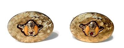 Masonic Shriner Crescent Moon Star Sword Gold Plated Round Cuff Links Vintage