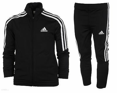 Adidas Boys Kids Tiro Poly Tracksuit Youth Sports Full Top Bottoms Suit Black