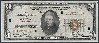 1929 $20 Federal Reserve Bank of of New York Note *Free S/H After 1st Item