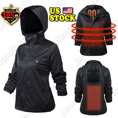 Women Electric Battery Heated Hoodie Jacket Coats Adjustable Temp Winter Clothes