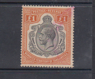 1927-31 KGV Tanganyika £1 issue used with full gum.