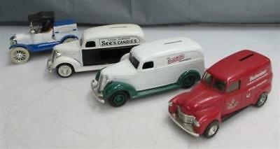 Mixed Lot of 4x Metal Die Cast Toy Truck Coin Banks-See's Candies, Budweiser++