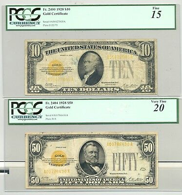 $10 + $50 Series 1928 Gold Certificates in PCGS Fine 15 and Very Fine 20 holders