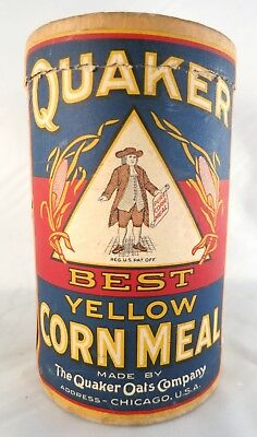 1930's era Antique Quaker Oats Chicago B Yellow Corn Meal Cardboard Canister Box