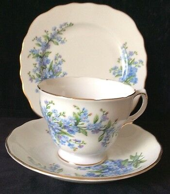 """Royal Vale China Trio,cup, Saucer ,plate """"forget Me Not"""" 5 Sets Available"""