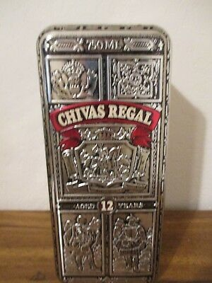 Chivas Regal Whiskey Vintage 1980's Embossed HINGED Silver Metal Tin / Ex. Cond.