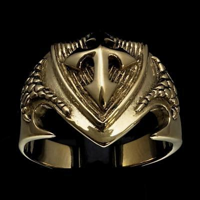 Shining Bronze Mens Medieval Costume Ring Crusader Knight Cross Coat Of Arms #10