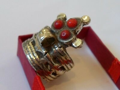 X-Mas Offer4One Week,post Medieval,silvered Crown Ring W/owl Head & Glass/stones