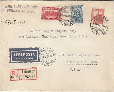 Hungary Registered Airmail Cover
