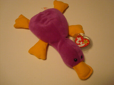 Rare*** Ty Beanie Baby Original 1993 Patti The Platypus With Tag And Protector