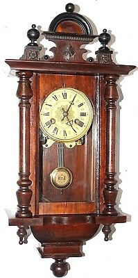 Antique 8 Day German Carved Walnut Spring Driven Vienna Wall Clock W/ Topper.
