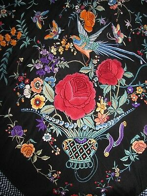 Silk Embroidered Shawl Antique Chinese Exquisite Urn Flowers Birds Canton Mint