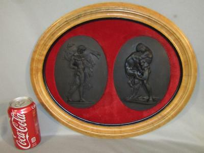 "Rare Pair Antique Basalt Large 7.5"" Wedgwood Plaques - Hercules W/lion & Boar"