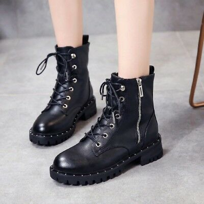 Womens Flat Ankle Boot Biker Lace Up Winter Military Combat Shoes Size UK 2.5-7