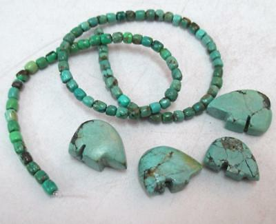 """16"""" STRAND of Natural Hubei Turquoise tube beads + 4 hand carved Bear totems"""