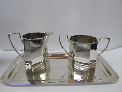 Cartier Sterling Silver Vintage Sugar & Creamer Set W/ Tray V Good Cond